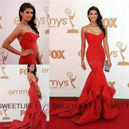 Wholesale Nina Dobrev Celebrity Dresses Red Formal Dresses Elegant Evening Gowns Strapless Court Train Satin Mermaid Evening Gown Red Carpet Hot