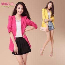 Wholesale Women s Blazer Jacket Business Suit Outerwear Leisure Split Half Sleeve Career Slim New Fashion Good Quality Yellow Rose Red CM3134