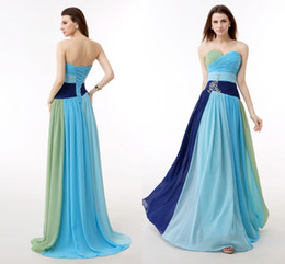 Wholesale 2015 Long Chiffon Cheap bridesmaid dresses Sweetheart Vestidos De Feista Floor Length Prom Gowns Mulity color Maid Of honor In Stock WXC