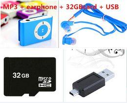 Горячая продажа с 8GB 16GB 32GB TF карта Мини Клип MP3-плеер с USB Cable / + наушники + Micro TF / SD карты Нет коробочный музыкальных плееров