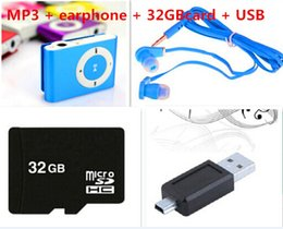 Venta caliente con 8GB 16GB 32 GB TF tarjeta MINI Clip MP3 Player con Cable / USB + auriculares + Micro TF/SD no Card reproductores de música de caja por menor