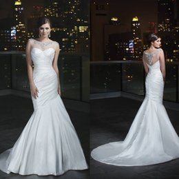 Wholesale Hot Sale Corset Satin Crew Wedding Dresses Sleeveless Beaded Ruched Slim Simple Classic Cheap Bridal Gowns Fashion Designer Sheer