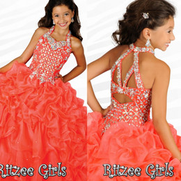 Wholesale 2015 New Pageant Dresses For Little Girl Halter Beads Crystal Ball Gown Ruffles Organza Custom Orange Princess Flower Girl Child Formal Gown