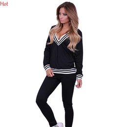 Wholesale 2016 Hot Hoodies Spring Style Sweat Shirt Stripes Print Tracksuit Long Pants Hoodies V Neck Pullover Womens Set Sport Jogging Suits SV027828