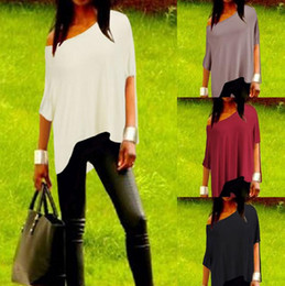 Wholesale Hot summer womens blouses clothing sexy ladies one shoulder Irregular short batwing sleeve casual blouses t shirts for women plus size xxl