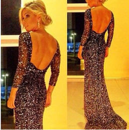 Wholesale 2015 New Arrival Summer Sexy Elegant Lace Hollow Out Crysta Long Sleeve Party Dresses Long Evening Dress Formal Cocktail Prom Dress