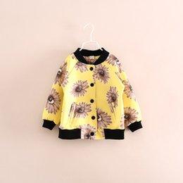 Wholesale Children s wear new sunflower three color coat e071020