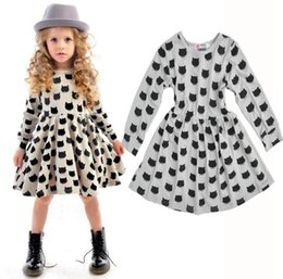 Wholesale Baby Infant Clothing Comfortable Cotton Black Cats Printed Dress Strench Long Sleeve Slim Cutting Dresses Girls Kids Clothes Dress Tops