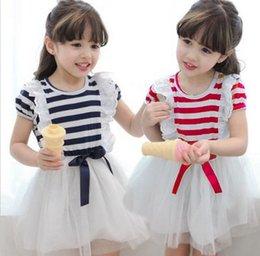Wholesale 2015 New Arrival Girl Dress Of Summer Short Sleeve Children Clothing Korean Stripe Layer Gauze Lace Baby Kids Tutu Dresses Retail TR46
