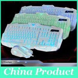 Venta al por mayor-Limited edición de ratones de ratón equipación teclado dientes de dientes de tres colores teclado con cable de retroiluminación 010248