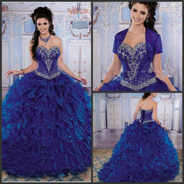 Wholesale Guanrrantee Quality Gorgeous Dress Fashionable sweetheart neck beaded organza sweep sweet royal blue quinceanera dresses