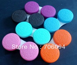 Wholesale Colourful Cookie Biscuit style contact lens case dual lens case