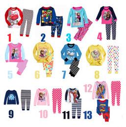 Wholesale New Frozen Kids Sleepwear Children Pajamas Autumn Clothes Anna Elsa Spiderman Olaf Cartoon Baby Cotton Underwear T shirt and trousers Pants