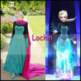 Wholesale Frozen Cosplay Outfit Adult Holloween Costume Snow Princess Queen Elsa Anna Coronation Embroider Flower Red Cloak Blue dress Freeshipping
