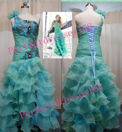 Wholesale Hot Selling Sexy Party Dresses Mermaid One shoulder Organza Peacock Prom Formal Evening Dresses Stock Size