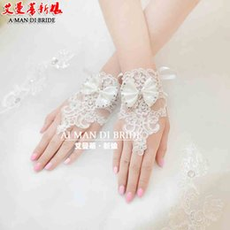 Wholesale 2015 Short Korean Lace Bridal Gloves Fingerless Bows Beaded Wedding Bridal Accessories