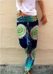Wholesale FG1509 New summer Casual High Waist Flare Wide Leg Long Pants Palazzo Trousers Plus Size floral classic exuma pants preppy