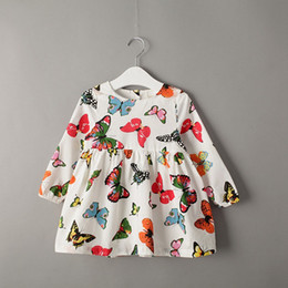 Wholesale Autumn Brand Girls Long Sleeve Butterfly Printed Princess dress girls casual dresses Children cotton korean Clothes Girls Clothes