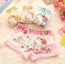 Wholesale Boxers for little girls pure cotton comfortable children underwear cute cartoon kitten printed kids clothes fit2 age ab2932
