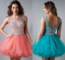 Wholesale Elegant Custom Made Sexy A Line Bateau Backless Cocktail Gowns Crystal Ruffles Beads Short Mini Tulle Homecoming Party Dresses