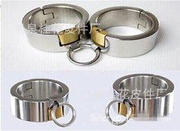 Wholesale Pure Stainless Steel Handcuffs with Lock Super Heavy oval shaped fetter shackles Heavy Manacles Bondage Gear