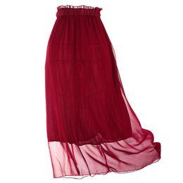 Discount Burgundy Chiffon Maxi Skirt   2017 Burgundy Chiffon Maxi ...