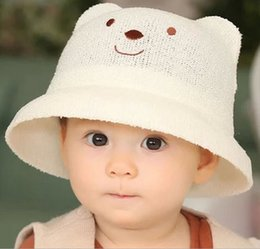 Wholesale New Fashion Spring Summer children Baby Multicolor Sun Hats Kids visor Bucket Hats lovely Beautiful baby hats Bear Style