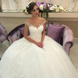Wholesale Gorgeous Lace Applique Ball Gown Wedding Dresses Off The Shoulder Sleeveless Court Train Tulle Bridal Gown