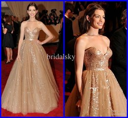Wholesale 2014 Sequin Ruched Sash Dazzling Sweetheart Anne Hathaway A Line Train Celebrity Dresses Prom Gowns