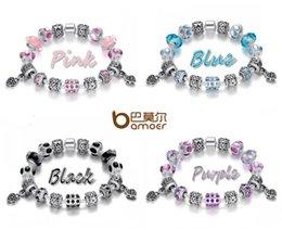 Estilo Europeo 4 colores 925 Crystal Charm Pulsera para Mujeres Con Perlas de Cristal de Murano azul joyería DIY PA1394 DHL libre