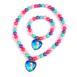Wholesale Hot Selling Cute Princess Pendant Necklace Bracelet Cartoon Jewelry Sets For Kids Children Holiday Christmas Gift
