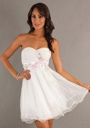 Wholesale A Line Strapless Zipper Sleeveless Mini Charming Dresses Satin Organza Draped Applique Same as Image Standard Code Bride Prom Dresse