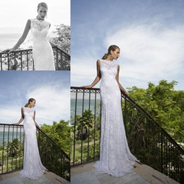Wholesale 2015 Luxurious Berta Sheath Wedding Dresses For Bride Vintage Sheer High Neck Applique Lace Beading Crystals Sweep Train Bridal Gowns CGL403