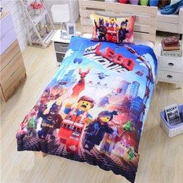 5sets dhl libre Lego Bedding Twin Full Queen Duvet Cubierta Set Lego Movie Teen Boys Ropa de cama de alta calidad al por mayor Dropship