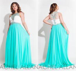 Wholesale 2016 Plus Size Dresses Rachel Allan Prom Jewel Sleeveless A Line Chiffon Floor Length Gowns Plus Size Evening Dresses Wear Custom Made