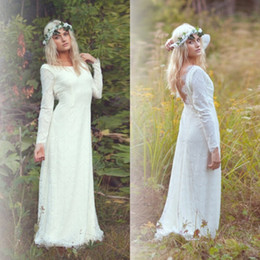 Wholesale Vintage Greek Goddess Wedding Dresses Spring White Ivory Champagne Lace Bohemian Sheath Bridal Gowns Long Sleeves Backless Beach Party