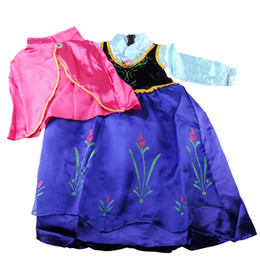 Wholesale Tutu kids girl party Children princess costume baby girls anna dress with cape long sleeve new frozen dress _