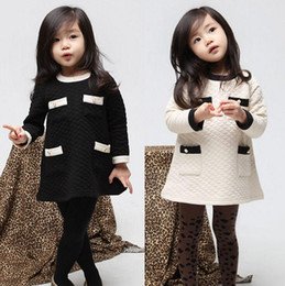 Wholesale Vogue Fall and Winter Clothes Korean Air Cotton Winter Baby Girls Clothes Childrens Long sleeved Dress Son Kids RK86347
