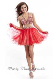 Wholesale New Popular Sexy Sheer Neck Corset Bodice Sheer Homecoming Dresses Beads Rhinestones Backless Red Graduation Dress Short Prom Party Gown