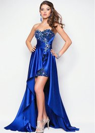 Wholesale Royal Blue Evening Dress Short Front Long Back Elegant Evening Gowns Formal Dresses Plus Size Custom Made robe de soiree