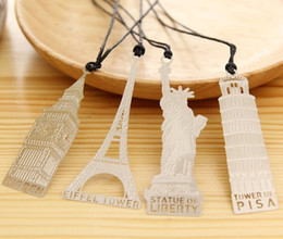 Wholesale NEW Wedding bookmark Hollow out metal paragraph Creative Bookmarks Leaning Tower of Pisa Leaning Tower of Pisa BIG BEN Style SQ02
