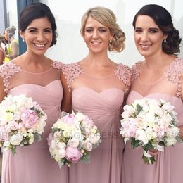 Discount 2015 Dusty Pink Chiffon Bridesmaid Dress | 2017 2015 ...