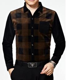 Wholesale Men s new men s long sleeved shirt men plus thick velvet man warm shirt