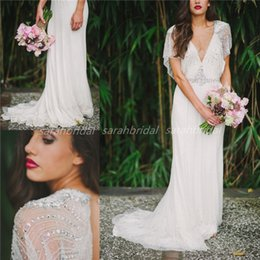 Wholesale Jenny Packham Tuscan Sheath Wedding Dresses For Bohemian Boho Beach Grecian Goddess Brides Retro Backless Beaded Delicate Bridal Gowns