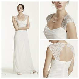Wholesale Ivory Grecian Style Wedding Dresses Lace Cap Sleeve Long Chiffon Beach Bridal Dress Floor Length A Line Wedding Gowns Cheap Custom Made