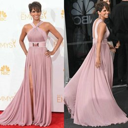 Wholesale 2015 New Halle Berry Red Carpet Celebrity Dresses Sexy Halter A Line Evening Gowns th Emmy Awards Cannes Film Festival Backless