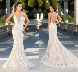 Wholesale Kitty Chen New Mermaid Wedding Dresses Lace Bridal Gowns Sexy Vintage Cheap Crystals Beading Backless Champagne Dress Long Chapel Train