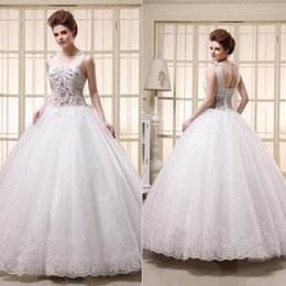 Wholesale 2015 Arabic Luxury Crystal Wedding Dresses Under Personalized Sweetheart with Sheer V Neck Lace Tulle Corset Ball Gowns Skirt Vestidos