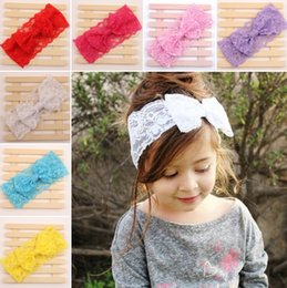 Wholesale Hot Sale Handmade Lace Bow Headband For Baby Girls Fashion Lace Hairband With Hair Bow Kids Boutique Hair Accessories