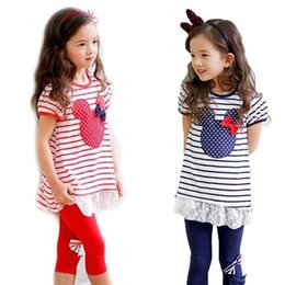 Wholesale girl suit shirt dress leggings girls minnie mouse clothing set short sleeve summer cartoon stripe minnie set with bow in stock